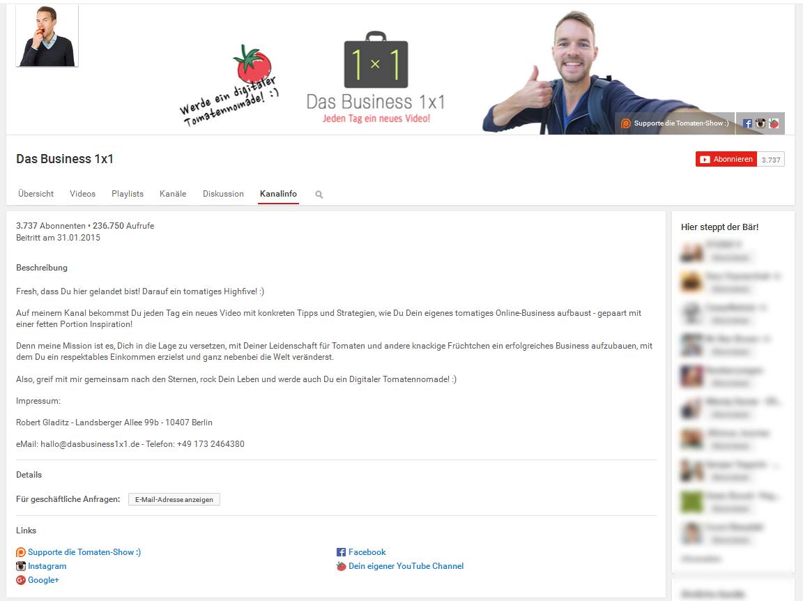das business 1x1 youtube kanal